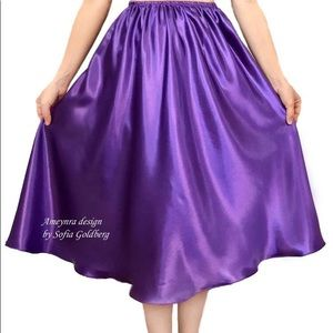 Purple Satin Skirt Mid-Calf New All Sizes in stock